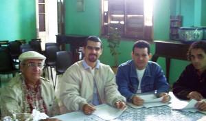 """Jurando del Premio literario """"Vicentina Antuña 2005"""": Waldo González López, Luis Rafael Hernández (actual editor de la editorial Verbum, de España), Amir Valle y Ernesto Sierra (aún vive en Cuba)."""