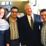 Con la profesora española Eva Guerrero, el escritor peruano Ricardo Sumalavia y el escritor español J.J. Armas Marcelo, Sofía, Bulgaria, mayo 2013.