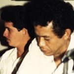 Mit dem Schriftsteller Eduardo Heras León, seinem Lehrer und besten  Förderer in seinen frühen Jahren als Schriftsteller. Havanna, Kuba, 1986.