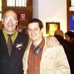 Mit dem spanischen Schriftsteller Andreu Martin, in der Negra y Criminal Buchhandlung. Barcelona, Spanien, 2006.