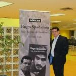 En la Biblioteca Nacional de Panamá, minutos antes de la presentación de su novela biográfica