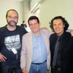 Con el escritor argentino Javier Chiabrando (a la izquierda) y el escritor colombiano Gustavo Forero Quintero, Medellín, Colombia, septiembre 2013.