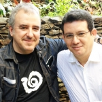Con el caricaturista cubano Ángel Boligán, Medellín, Colombia, septiembre 2013.
