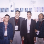With Puerto Rican Elidio La Torre, Dominican José Carvajal (Director of LIBRUSA) and Cuban Guillermo Vidal. Guadalajara, Mexico, 2002.