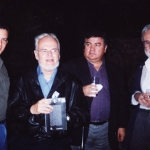 From the left to the right: With North American writer David Lida, Venezuelan writer Luis Britto García, Columbian writer R.H. Moreno-Durán and Argentinian writer Noé Jitrik. Monterrey, Mexico, 2002.
