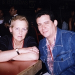 With his literary agent, Ray Güde Mertin, Feria Internacional del Libro. Guadalajara, Mexico, 2002.