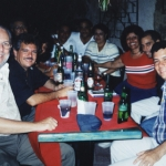 With Dominican writer Freddy Ginebra (Director of the Casa de Teatro Cultural Center) and other writers and publishers. Santo Domingo, Dominican Republic, 2000.