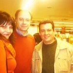 With his Spanish publisher Nicole Cantó and Spanish writer Antonio Soler. Malaga, Spain, 2006.