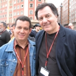 With Chilean writer Roberto Ampuero, in Semana Negra. Gijon, Spain, 2008.
