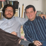 With Columbian writer Santiago Gamboa. Paris, France, 2008.