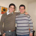 With the Cuban storyteller and playwright Abel González Melo. Berlin, Germany, March 2010.