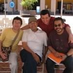 Festival de la Palabra: From the left to the right, Antonio García Ángel (Colombia), Elmer Mendoza (Mexico) and Mario Mendoza (Colombia). Puerto Rico, May 2010.