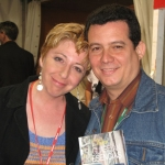 With Spanish writer Cristina Macia, life companion and soul mate of Cuban writer Justo Vasco, in Semana negra. Gijon, Spain, 2007.
