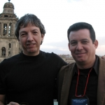 With Mexican writer David Toscana, Festival de la palabra. México. D.F., Mexico, 2008.