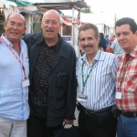 From the left to the right: With Spanish writers Juan Madrid, Andreu Martín and Cuban writer Rodolfo Pérez Valero, in Semana Negra. Gijon, Spain, 2007.