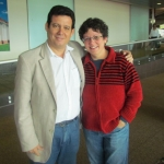 With Cuban writer Odette Alonso, at the airport in San Jose. Costa Rica, October 2011.