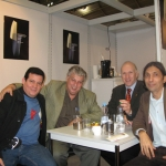 From the left to the right: With Cuban journalist Ricardo González Alfonso, the German translator Guido Klein and Cuban writer Jorge Luis Arzola. Frankfurt Book Fair, Frankfurt, Germany, October 2010.