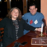 With German writer and translator Christa Schuenke. Berlin, Germany, November 2009.