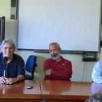"Symposium  ""Ecrire/Decrire La Havane"", Niza University. With Cuban writers Abilio Estévez and Leonardo Padura. Niza, France, 2012."