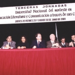 In a round table discussion at the National University of the Northeast. Corrientes, Argentina, July 2001.
