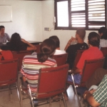 At a debate session at the Onelio Jorge Cardoso Creation Workshop. Havana, Cuba, July 2001.