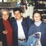 In the Book Fair in Oberá, Misiones, Argentina with Argentine writer Teresa Pasalaqua (left). Oberá, Misiones, Argentina, July 2001.