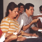 At a debate session at the Onelio Jorge Cardoso Creation Workshop., Havana, Cuba, July 2001.