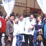 Semana Negra. From the left to the right: Paloma Sáiz Tejero, Paco Ignacio Taibo II, Lorenzo Lunar, Cristina Macia and Justo Vasco. Gijón, Spain, July 2002.