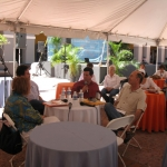 """Festival de la Palabra in San Juan, Puerto Rico.  Roundtable: """"Foreigners, a place in the world"""", accompanied by the Puerto Rican writer Luzma Umpierre, the Columbian writer Santiago Gamboa and Guatemalan David Unger. Puerto Rico, May 2010."""