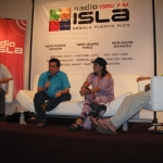 """Festival de la Palabra in San Juan, Puerto Rico. Literary Roundtable: """"Lost in the street"""", with Ana Maria Fuster (Puerto Rico) and Antonio Garcia Angel (Colombia, in armchair at right)., Puerto Rico, May 2010."""