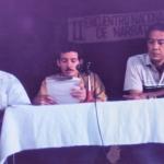 II Encuentro Nacional de Narrativa. Along with writers Arturo Arango (left) and Eduardo Heras León. Santiago de Cuba, Cuba, 1988.