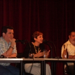 """""""Cuban Night in Cervantes"""". At the Cervantes Institute, together with the Spanish writer Elia Barceló and the Cuban novelist Lorenzo Lunar. Munich, Germany, May 2006."""