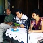 "Presentation of the Short Story book ""Fabulación de la memoria"", written by the Cuban writer Emmanuel Castells Carrion (left). Havana, Cuba, 2004."