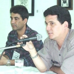 "Presentation of his novel ""Si Cristo te desnuda"", with writer Jorge Ángel Hernández Pérez. Santa Clara, Cuba, March 2002."