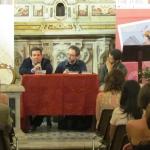 "During the presentation in Castellaneta, Puglia, Italy, of his novel ""Non lasciar mai che ti vedano piangere"", accompanied by the Italian translator and writer Giovanni Agnoloni, as part of the literary event"" Spiagge D'Autore"". Castellaneta, Italy, July 2012."