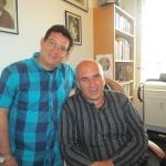 En su estudio en Berlín, con el escritor cubano Francis Sánchez, octubre de 2015.