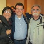En Allianz Forum Berlín, con los escritores iraníes Mansoureh Shojaee y Khalil Rostamkhani, febrero de 2015.