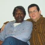 En su casa en Berlín, con el escritor cubano Roberto Zurbano, enero de 2015.