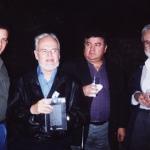 De izquierda a derecha: el venezolano Luis Britto García, el colombiano R.H.Moreno-Durán y el argentino Noé Jitrik, Monterrey, México, 2002.