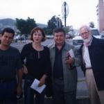 Con la escritora española Angela Vallbey, el colombiano R.H. Moreno-Durán y el argentino Noé Jitrik, Monterrey, México, 2002.