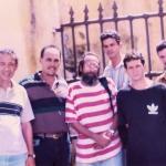 De izq. a der: los escritores Eduardo Heras León, José Mariano Torralbas, Guillermo Vidal, Alberto Garrido y Marcos González. Santiago de Cuba, Cuba, 1989.