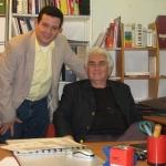 Con el escritor Eduardo Belgrano Rawson, de Argentina. Lyon, Francia, octubre 2010.