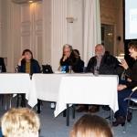 Conversatorio de escritores asilados en Alemania: Amir Valle, la periodista chechena Maynat Kourbanova, la periodista alemana Cornelia Zetzsche, el escritor y periodista ruso Serguei Zolovkine y la Vicepresidenta del PEN Club alemán Franziska Sperr, Munich, 16 de marzo de 2015.