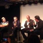 """Conversatorio sobre el documental """"Cubans at the Edge of the Berlin Wal"""": Ricardo Moreno, Teresa Casanueva, Ricardo Bacallao (director del documental) y Amir Valle, 27 de junio de 2015."""