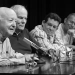 En el Festival Internacional de Literatura de Berlín, con Jorge Edwards, Hans Christoph Buch, Amir Valle y Marko Martin, septiembre de 2015. Foto: Ali Ghandtschi.