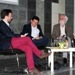 """En el Encuentro """"Zwischen Über-und Wi(e)der-Setzen"""", con el profesor universitario Joachim Loy y el traductor alemán Karl Müller (derecha en la foto). Colonia, Alemania, julio 2013."""