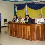 En la sala Carmelo Spadafora de la Universidad de Chitré, durante la presentación de su novela biográfica